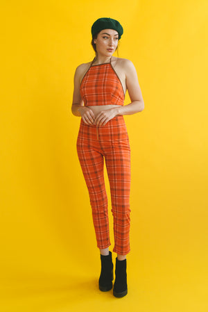PHEOBIE PLAID ZIPPER PANT
