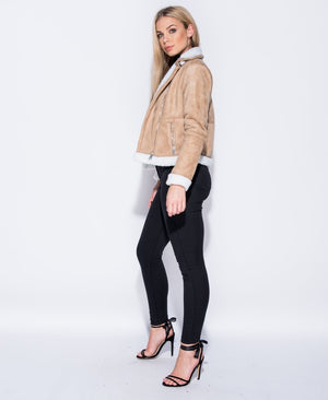 SUEDETTE AVIATOR JACKET