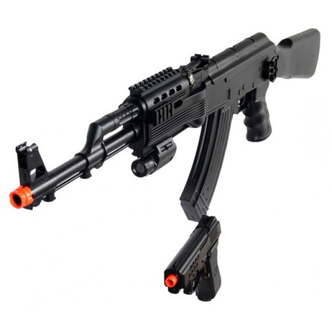 Tactical AK-47 Spring Rifle - Full Stock with Bonus Spring Pistol