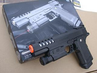 XK918A. Large Hi-Capa Style spring pistol with detachable laser