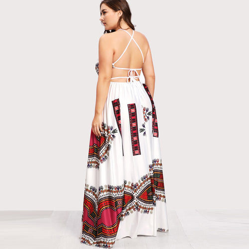 Lace Up Cut Out Backless Maxi Sun Dress