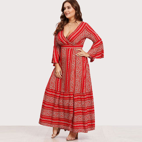 Plus Size Red V Neck Flounce Sleeve Maxi Dress