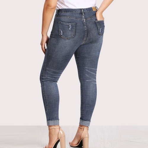 Plus Size High Waisted Distressed Skinny Jeans