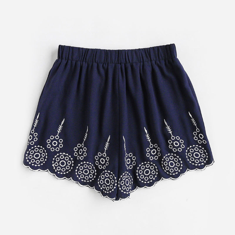 Embroidered Scallop Hem Navy Shorts