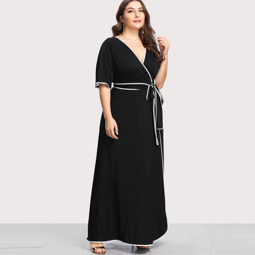 Plus Size Black and White Trim Belted Wrap Maxi Dress