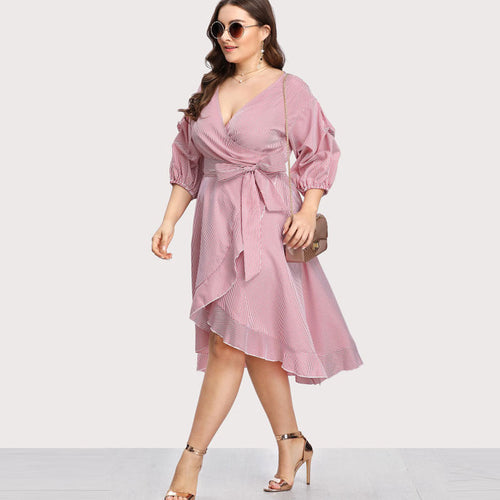 Pink Plus Size  Ruffle Trim Pinstripe Wrap Dress