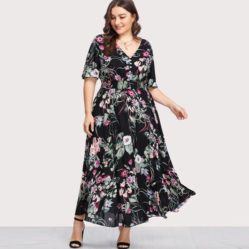 Plus Size Button Front Shirred Waist Floral Dress