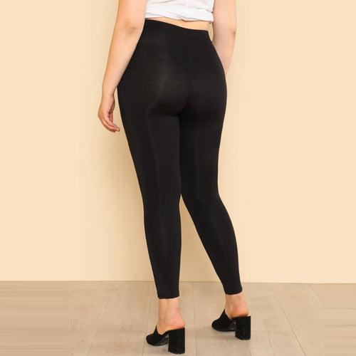 Plus Size Pearl Beading Black Leggings