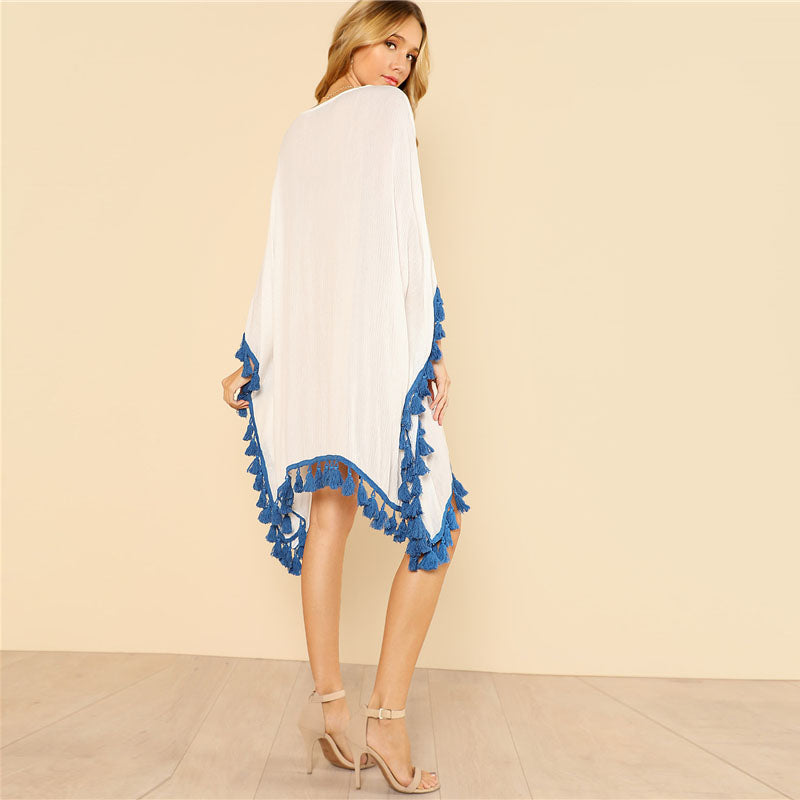 Embroidery and Tassels Poncho