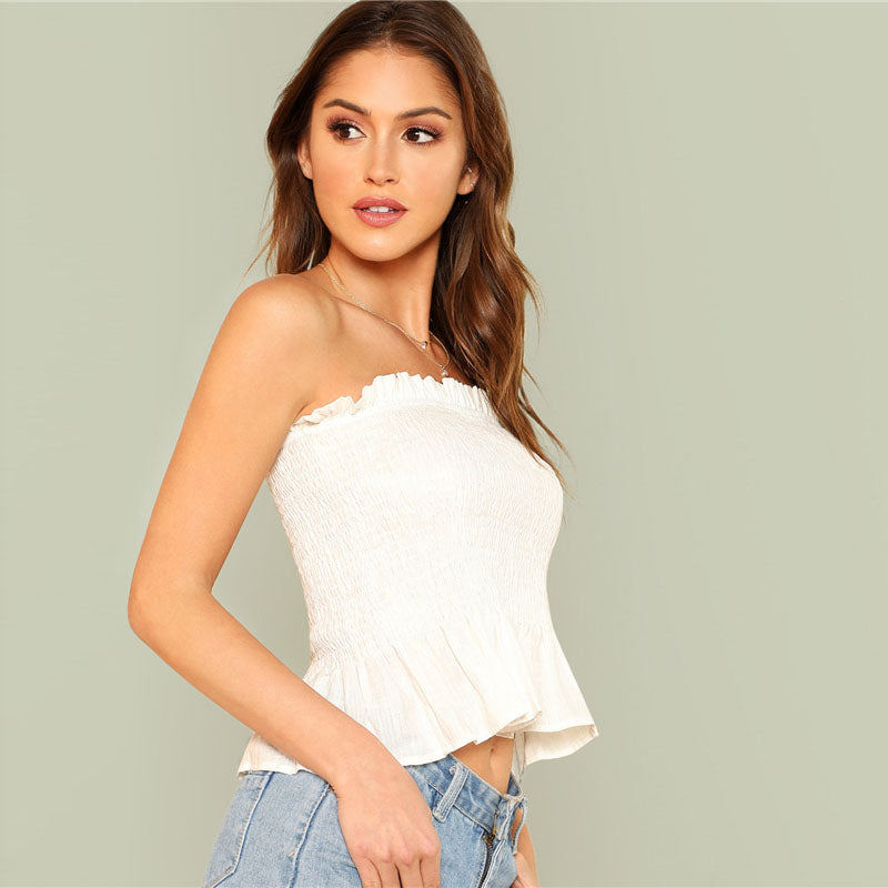 White Frill Trim Bandeau Top