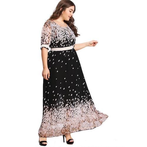 Plus Size Flower Print Chiffon Dress