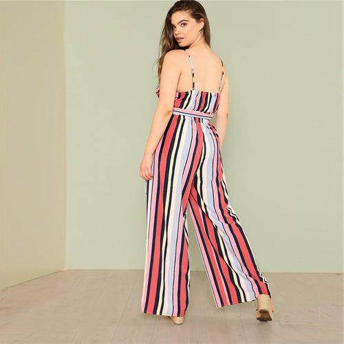 Plus Size Two Piece Striped Cami Top & Culotte Pants