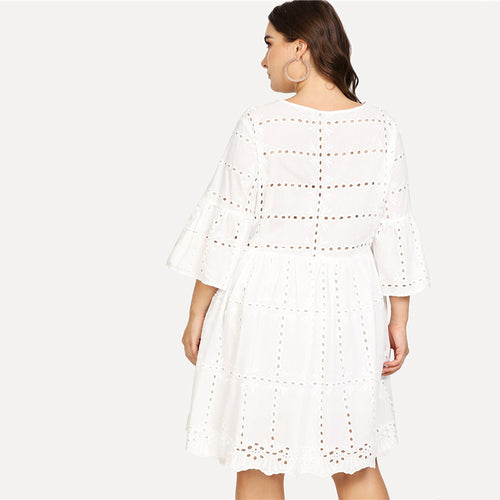Plus Size Eyelet Smock Dress