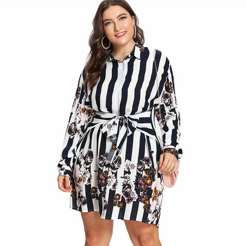 Plus Size Stripe & Flower Print Shirt Dress