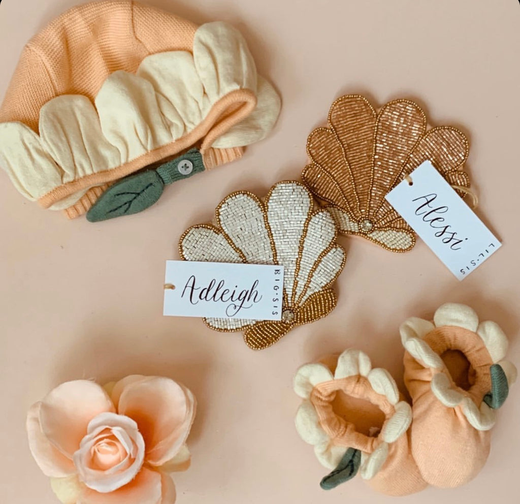 Flower Baby Bonnet and Booties