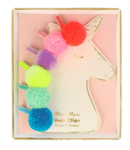 Unicorn Pom Pom Hairclips