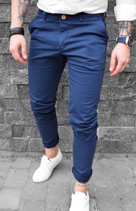 Pantaloni Casual Slim-Blue