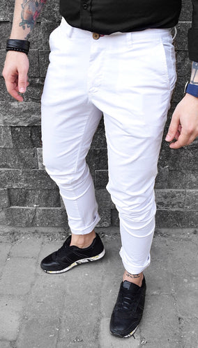 Pantaloni Casual Slim-White