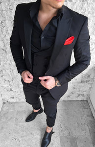 COSTUM EXCLUSIVE SLIM FIT ALL BLACK (3 piese)