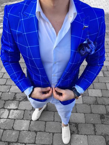 SACOU SLIM FIT CAROURI ELECTRIC BLUE