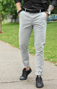 Pantaloni casual slim- Grey Line