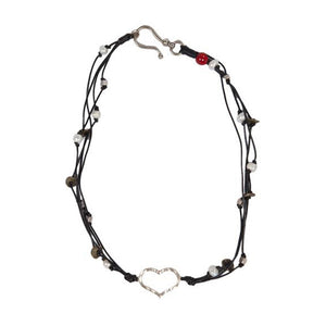 Heart Leather + Pearl Necklace • Black