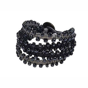 Cuff Bracelet: 4 Bands + Glass Beads • Black/Steel Grey