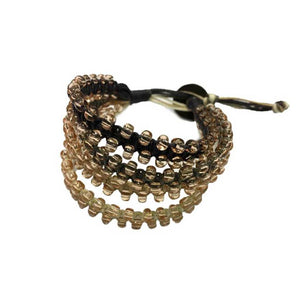 Chann Bracelet: 4 Bands + Glass Beads • Brown/Earth
