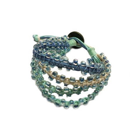 Cuff Bracelet: 4 Bands + Glass Beads • Denim/Mint