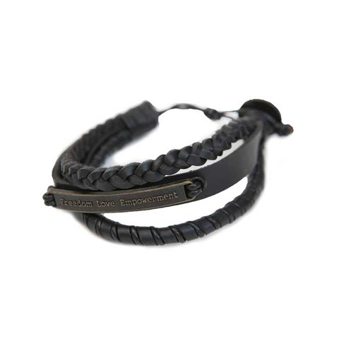 Ksae Leather Bracelet • Black