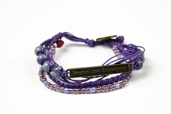 Kyal Bracelet : Braids + Beads • Purple