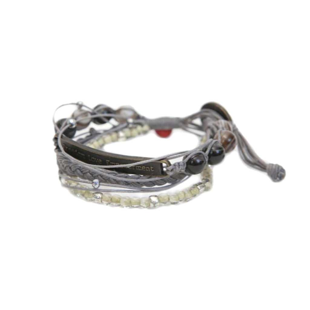 Kyal Bracelet : Braids + Beads • Steel Gray