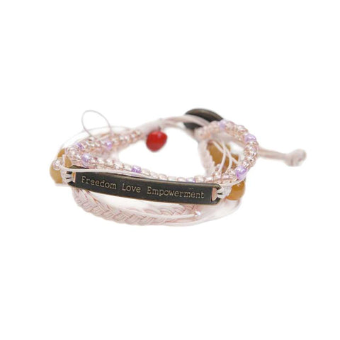 Kyal Bracelet : Braids + Beads • Light Pink