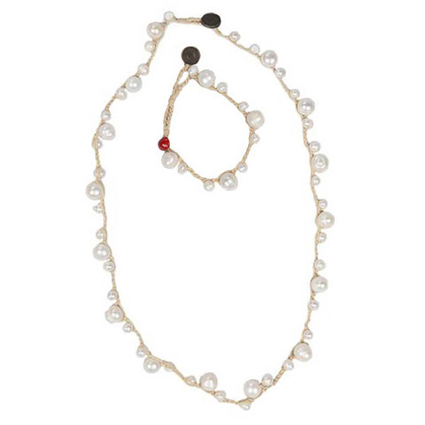 Hope : Natural Pearl and Creme Necklace + Bracelet