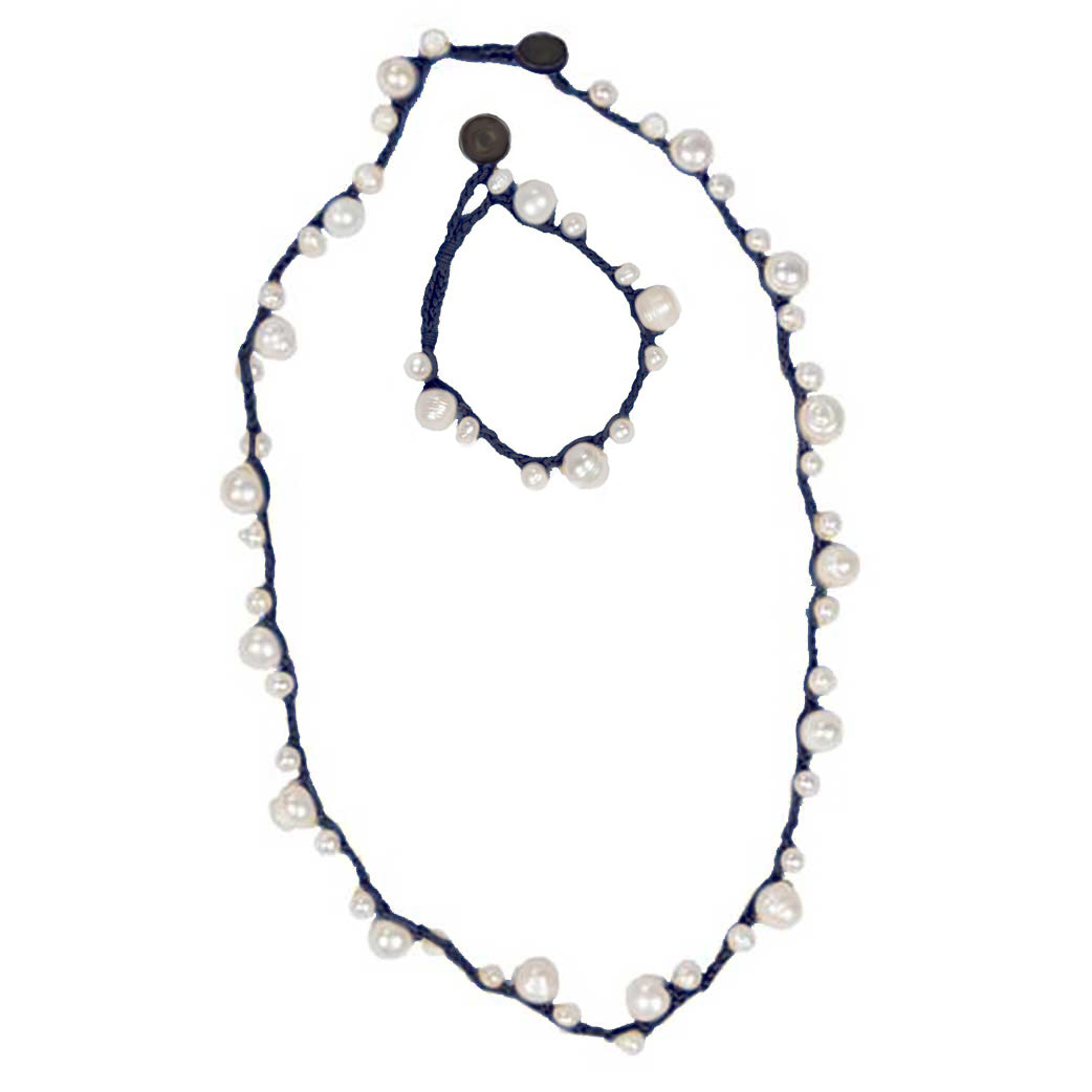 Hope : Natural Pearl and Black Necklace + Bracelet