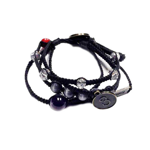 Sophea Bracelet: 5 Braids, Stone Beads + Charms • Black