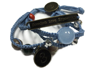 Sophea Bracelet: 5 Braids, Stone Beads + Charms • Denim