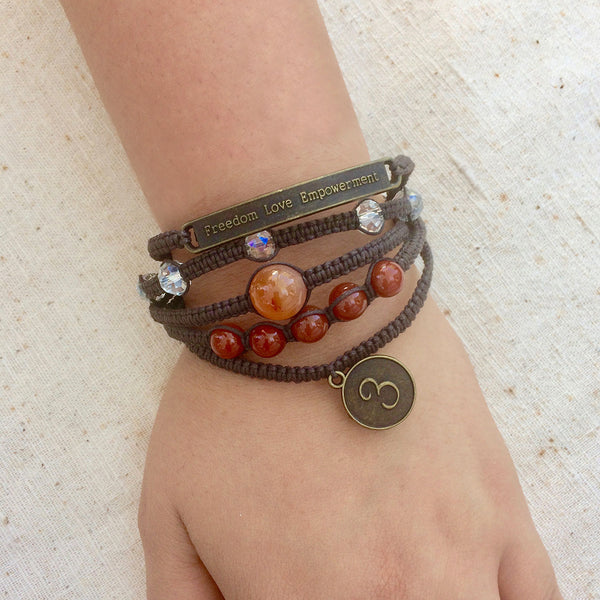 Sophea Bracelet: 5 Braids, Stone Beads + Charms • Brown