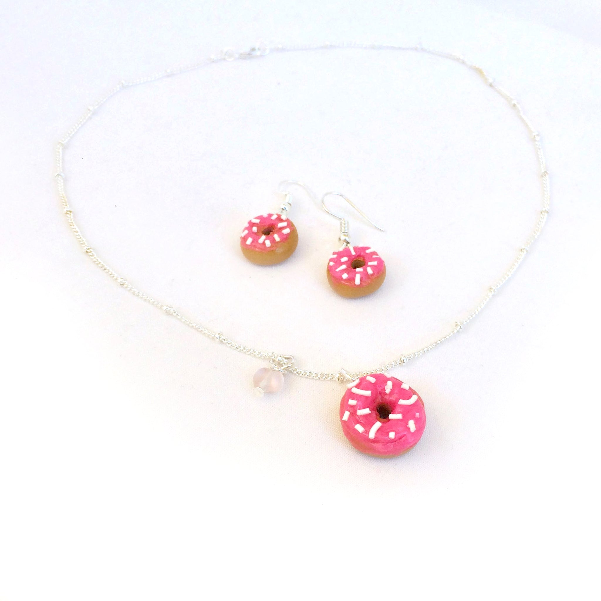 Donut Necklace + Earring Set • Pink Sprinkle