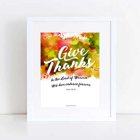 Give Thanks Fall Colors Art Print