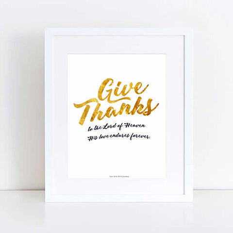 Give Thanks, Golden, Art Print