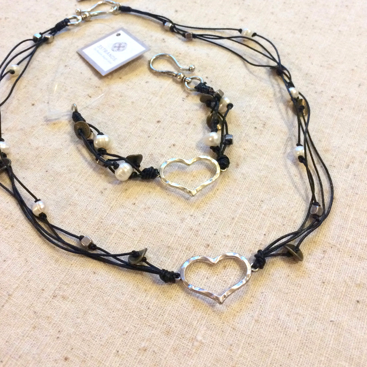 Heart Leather + Pearl : Necklace + Bracelet Set * SAVE