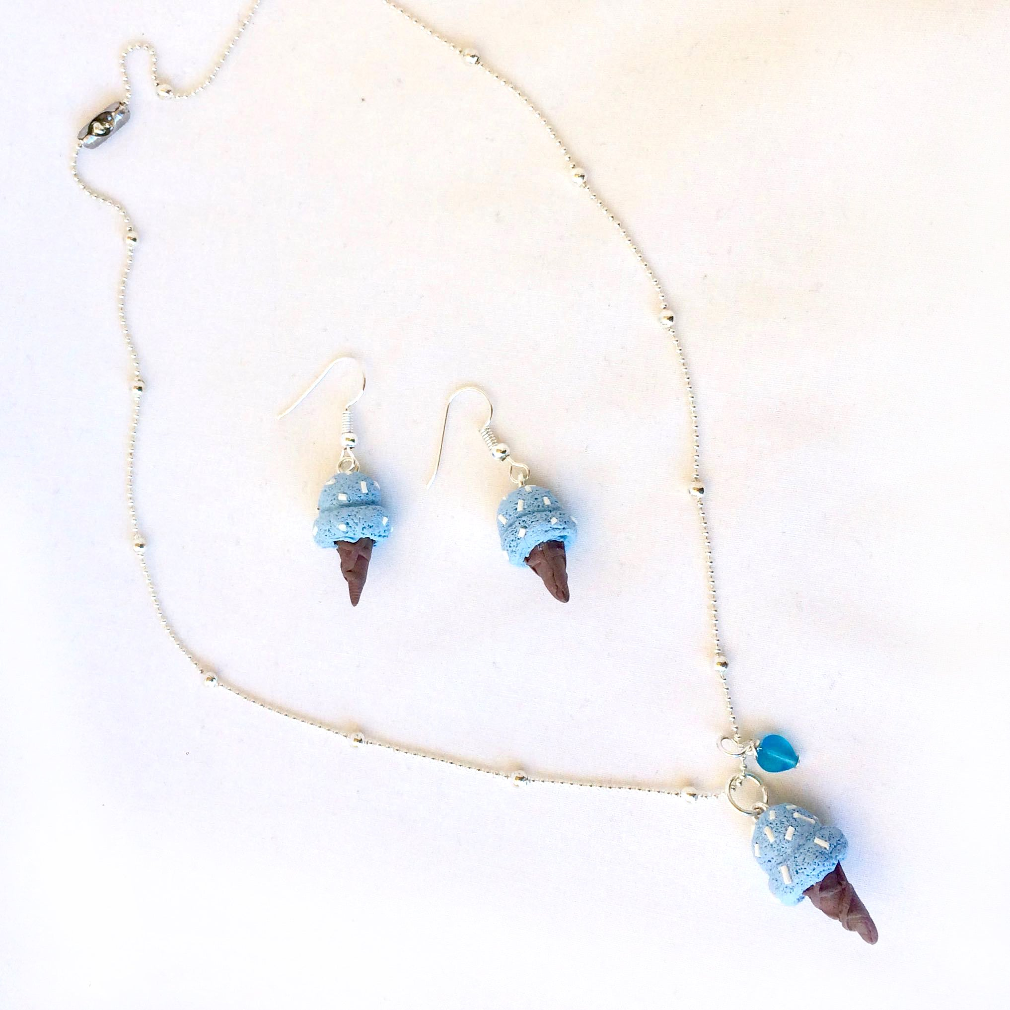 Ice Cream Necklace and Earring Sets • Baby Blue