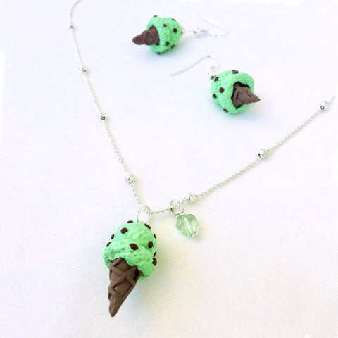 Ice Cream Necklace and Earring Sets • Mint Chip