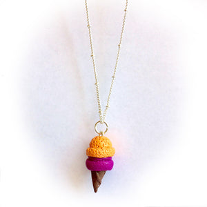 Ice Cream Necklace + Earrings • Double Scoop! Mango Berry