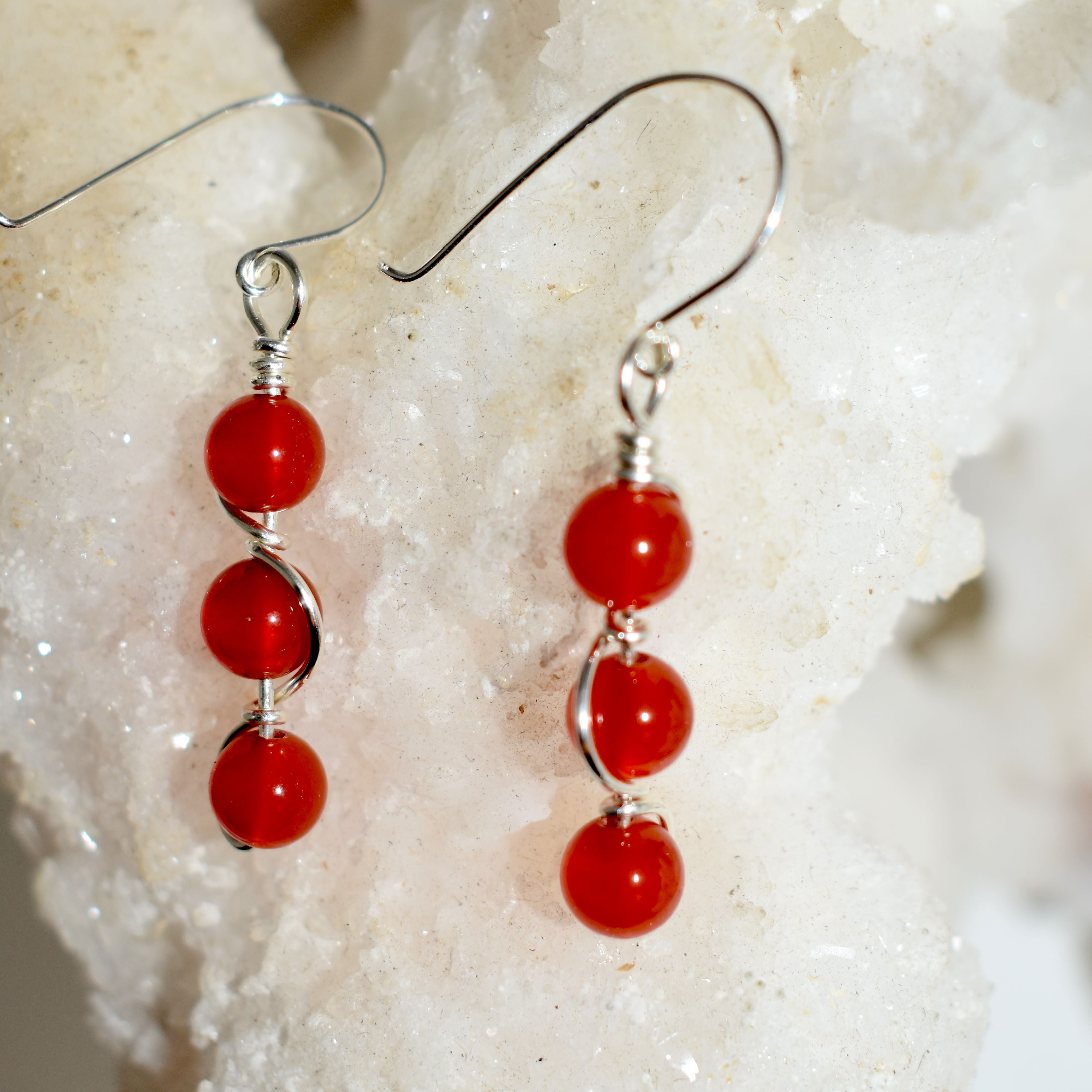 Carnelian Double Helix Earrings