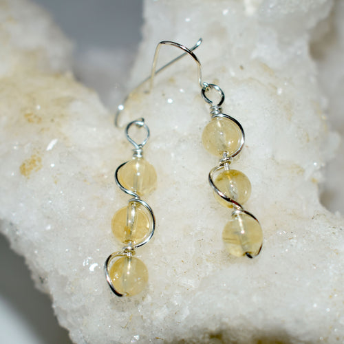 Citrine Double Helix Earrings
