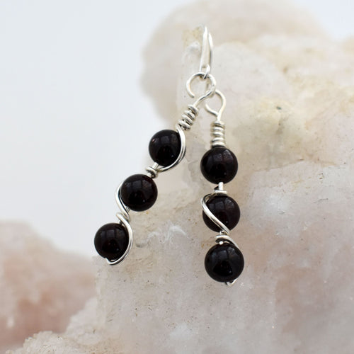 Garnet Double Helix Earrings