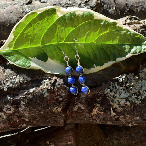 Lapis Lazuli Double Helix Earrings