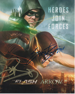 Grant Gustin & Stephen Amell Arrow Flash Signed Autograph 8x10 Photo #2 - Outlaw Hobbies Authentic Autographs